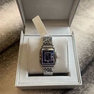 { Michele } Deco Madison Mid Blue Dial Watch